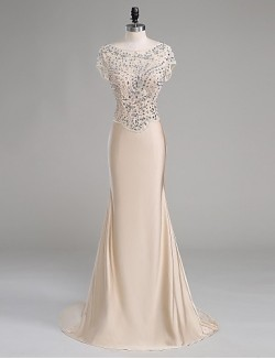 New Zealand Formal Evening Dress Trumpet Mermaid Scoop Court Train Polyester With Beading
