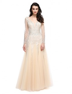 New Zealand Formal Evening Dress A Line V Neck Long Floor Length Tulle Dress With Beading