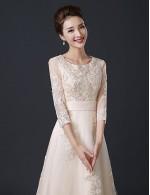 New Zealand Formal Evening Dress A Line Jewel Tea Length Satin Tulle With Ruffles