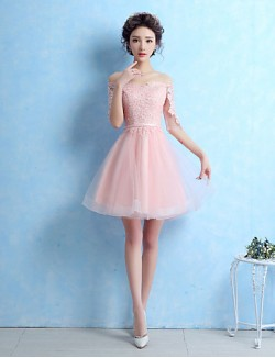 New Zealand Cocktail Party Dress A Line Off The Shoulder Short Mini Lace Tulle With Sash Ribbon