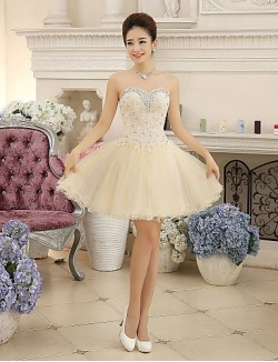 New Zealand Cocktail Party Dress Ball Gown Sweetheart Short Mini Chiffon Lace With Crystal Detailing Lace Bandage