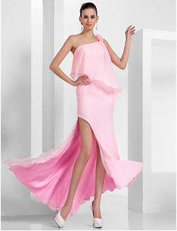 Prom Gowns New Zealand Formal Evening Dress Open Back Plus Size Petite Sheath Column Sexy One Shoulder Long Floor Length Asymmetrical Chiffon