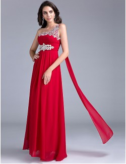 New Zealand Formal Evening Dress A Line Sexy One Shoulder Long Floor Length Georgette With Beading Crystal Detailing Draping Crystal Brooch Ruching