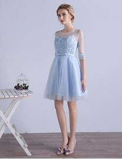 New Zealand Cocktail Party Dress A Line Jewel Short Knee Length Tulle With Appliques
