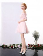 New Zealand Cocktail Party Dress A Line Off The Shoulder Short Mini Lace With Lace