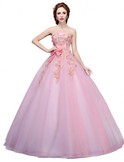 New Zealand Formal Evening Dress Ball Gown Strapless Long Floor Length Tulle Dress With Appliques Crystal Detailing Flower