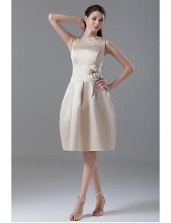 New Zealand Cocktail Party Dress Champagne Fit Flare Jewel Short Knee Length Satin