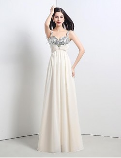 New Zealand Formal Evening Dress A Line Straps Long Floor Length Chiffon Sequined With