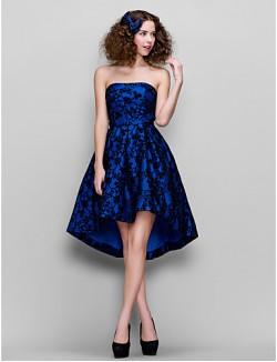 vestido De Fiesta De Graduación Couture® Ts Empresa 1950 Más El Tamaño Pequeño Una Línea Sin Tirantes De Encaje Asimétrica Con El Cordón