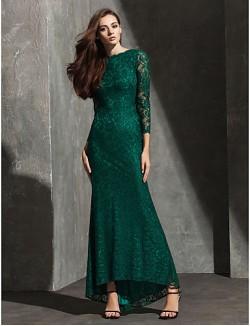 New Zealand Formal Evening Dress Black Tie Gala Dress Trumpet Mermaid Bateau Asymmetrical Lace With Lace