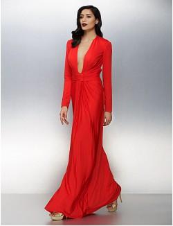 New Zealand Formal Evening Dress Plus Size Petite Sheath Column V Neck Long Floor Length Jersey With Ruching