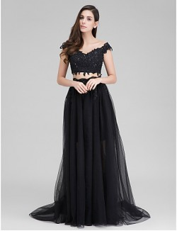 New Zealand Formal Evening Dress Two Pieces A Line Sweetheart Sweep Brush Train Tulle With Appliques