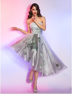 New Zealand Cocktail Party Dresses Homecoming Holiday Dress 1950s High Low Plus Size Petite A Line Strapless Asymmetrical Lace Charmeuse Tencel