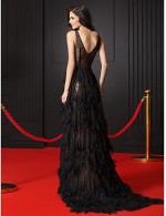 New Zealand Formal Evening Dress A Line V Neck Sweep Brush Train Lace With Lace