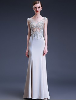 New Zealand Cocktail Party Dresses New Zealand Formal Evening Dress Trumpet Mermaid Jewel Sweep Brush Train Chiffon With Appliques
