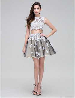 New Zealand Cocktail Party Dress Two Pieces Ball Gown High Neck Short Mini Tulle With Appliques Beading Lace