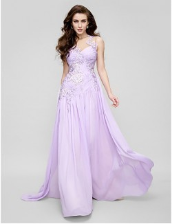 New Zealand Formal Evening Dress A Line Jewel Court Train Chiffon Tulle With Appliques Side Draping Ruching