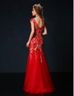 New Zealand Formal Evening Dress Trumpet Mermaid Jewel Long Floor Length Tulle Dress Charmeuse With Embroidery Sequins