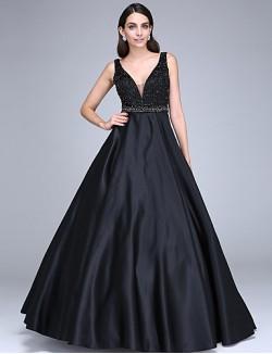 New Zealand Formal Evening Dress Ball Gown V Neck Long Floor Length Satin With Beading Sash Ribbon