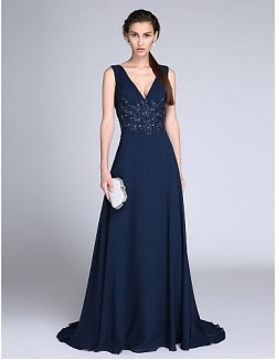 New Zealand Formal Evening Dress Sheath Column V Neck Sweep Brush Train Chiffon With Appliques Sequins