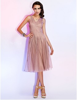 New Zealand Cocktail Party Dresses Holiday Dress Short A Line Princess V Neck Short Knee Length Tulle With