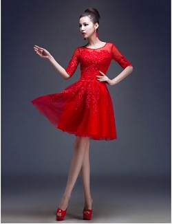 New Zealand Cocktail Party Dress A Line Princess Jewel Short Knee Length Tulle With Appliques Beading Sequins