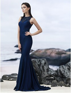 New Zealand Formal Evening Dress Black Tie Gala Dress Trumpet Mermaid Jewel Sweep Brush Train Lace With Lace