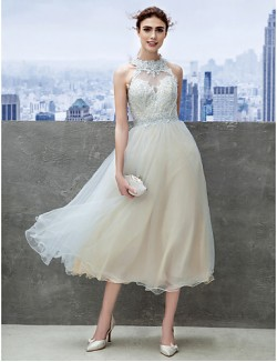 New Zealand Cocktail Party Dresses Company Party Dress A Line Jewel Tea Length Lace With Appliques