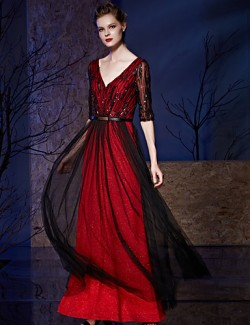 New Zealand Formal Evening Dress A Line V Neck Long Floor Length Chiffon Tulle Sequined With Sash Ribbon Sequins