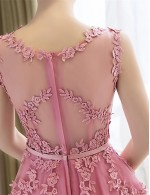New Zealand Cocktail Party Dress A Line Scoop Tea Length Lace Satin With Appliques