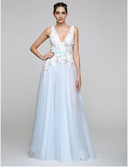New Zealand Formal Evening Dress A Line V Neck Long Floor Length Tulle Dress With Appliques Bow