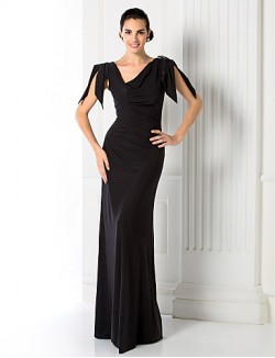 Prom Gowns New Zealand Formal Evening Dress Military Ball Black Tie Gala Dress Sheath Column V Neck Long Floor Length Jersey With Beading