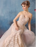 New Zealand Formal Evening Dress Trumpet Mermaid Strapless Chapel Train Lace Tulle Charmeuse With Beading Lace Sash Ribbon