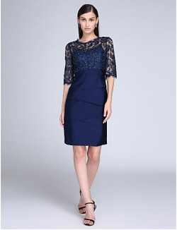 New Zealand Cocktail Party Dress Sheath Column Jewel Short Knee Length Lace Jersey With Lace