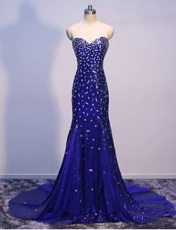 New Zealand Formal Evening Dress Trumpet Mermaid Sweetheart Sweep Brush Train Tulle Sequined With Crystal Detailing