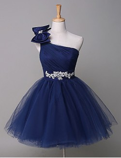 New Zealand Cocktail Party Dress Ball Gown Sexy One Shoulder Short Tulle WithAppliques Beading Bow Sash