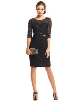 New Zealand Cocktail Party Dress Sheath Column Scoop Short Knee Length Lace With Appliques Lace Ruching