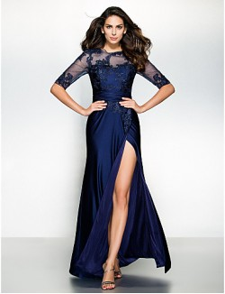 Trumpet Mermaid Mother Of The Bride Dress Long Floor Length Half Sleeve Jersey With Appliques