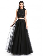 2017 New Zealand Formal Evening Dress A Line Jewel Long Floor Length Lace Dress Tulle With