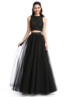 New Zealand Formal Evening Dress A Line Jewel Long Floor Length Lace Dress Tulle With