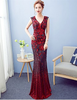 New Zealand Formal Evening Dress A Line V Neck Long Floor Length Sequined With Sequins