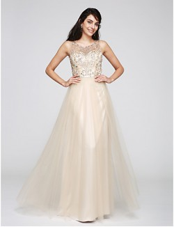 New Zealand Formal Evening Dress A Line Scoop Long Floor Length Tulle Dress With Beading Sequins