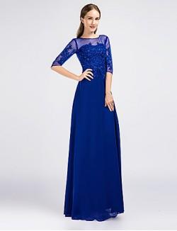 New Zealand Formal Evening Dress Sheath Column Jewel Long Floor Length Chiffon With Appliques Beading