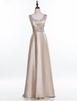 New Zealand Formal Evening Dress A Line Square Long Floor Length Satin With Beading Pleats