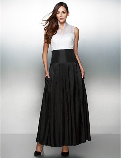 New Zealand Formal Evening Dress A Line V Neck Ankle Length Organza Taffeta With Buttons