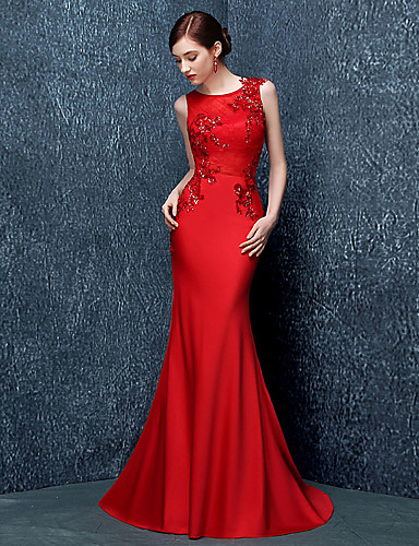 New Zealand Formal Evening Dress Trumpet Mermaid Jewel Sweep Brush Train Stretch Satin With Sequins