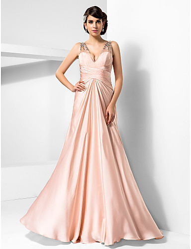 Prom Gowns New Zealand Formal Evening Dress Military Ball Dress Sexy Plus Size Petite Sheath Column V Neck Long Floor Length Satin Chiffon With Beading
