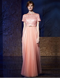 New Zealand Formal Evening Dress Ball Gown Jewel Long Floor Length Tulle Dress Sequined With Appliques Sash Ribbon