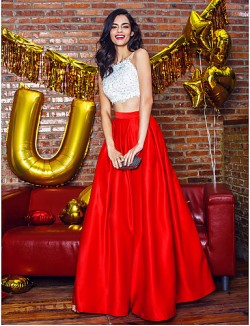 New Zealand Formal Evening Dress Two Pieces A Line Spaghetti Straps Ankle Length Satin With Beading Lace