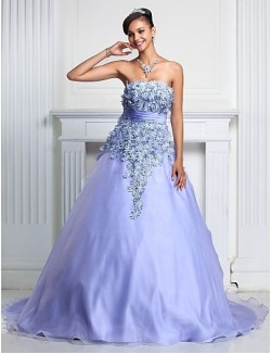 Prom Gowns New Zealand Formal Evening Dress Quinceanera Sweet 16 Dress Floral Plus Size Petite A Line Ball Gown Strapless Court Train Organza